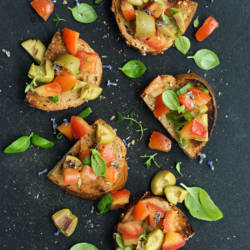 Vegetarian Bruschetta. Healthy Vegetarian Appetizer.